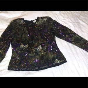 Oleg Cassini BLACKTIE vtg Sz Large Silk beaded Top